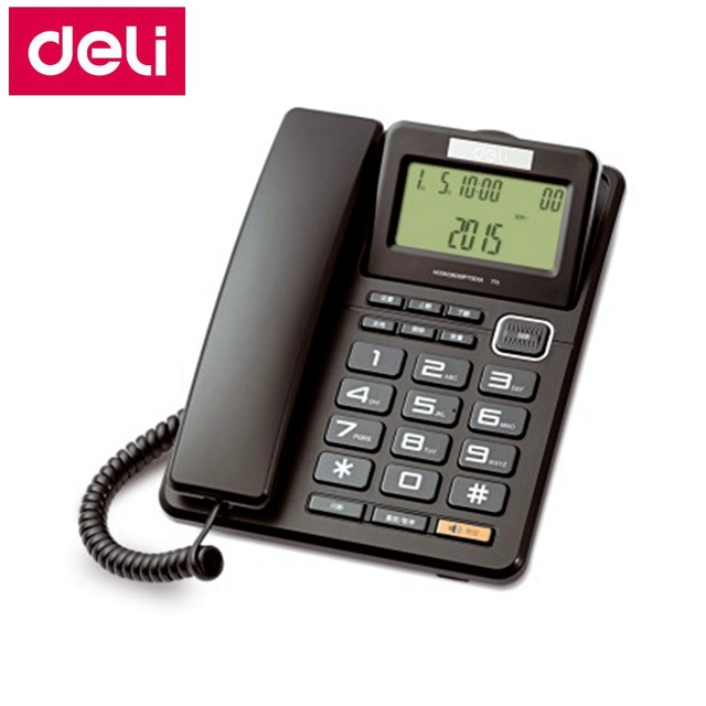 Deli 773 Seat Type Telephone Corded Phone Screen Rotatable Home Office Caller Id Date Time Display