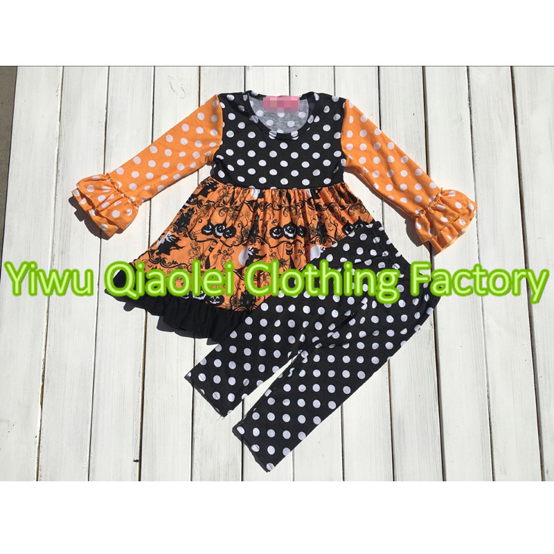 baby girls halloween outfits kids pumpkin outfits wholesale childrens boutique clothing sets