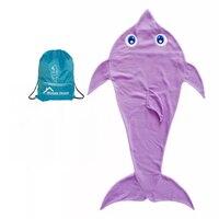 Super Soft Mermaid Tail Dolphin Blankets Polar Fleece Fabric All Seasons Sleeping Bags For Children