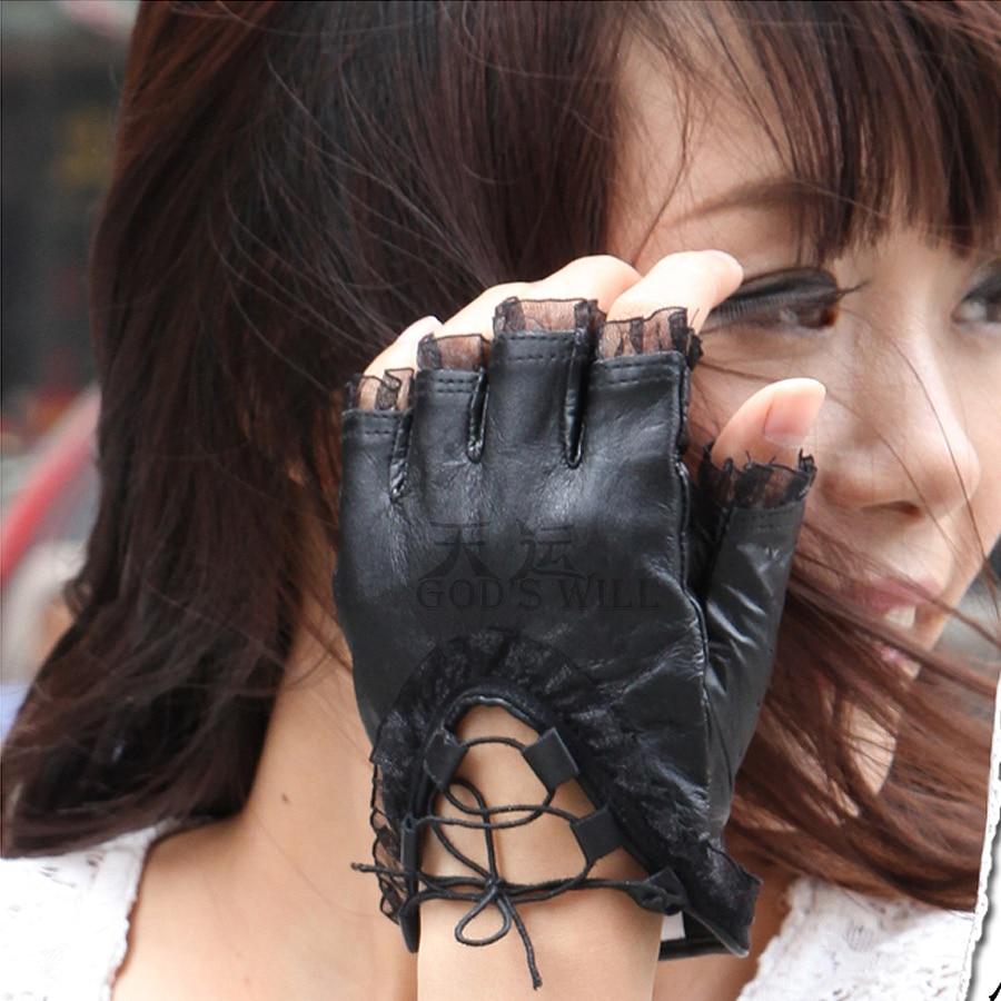 Ladies leather gloves nz - Women Black Lace Gloves Half Finger Soft Genuine Sheepskin Leather Gloves Ladies Dance Costume Sexy Gloves