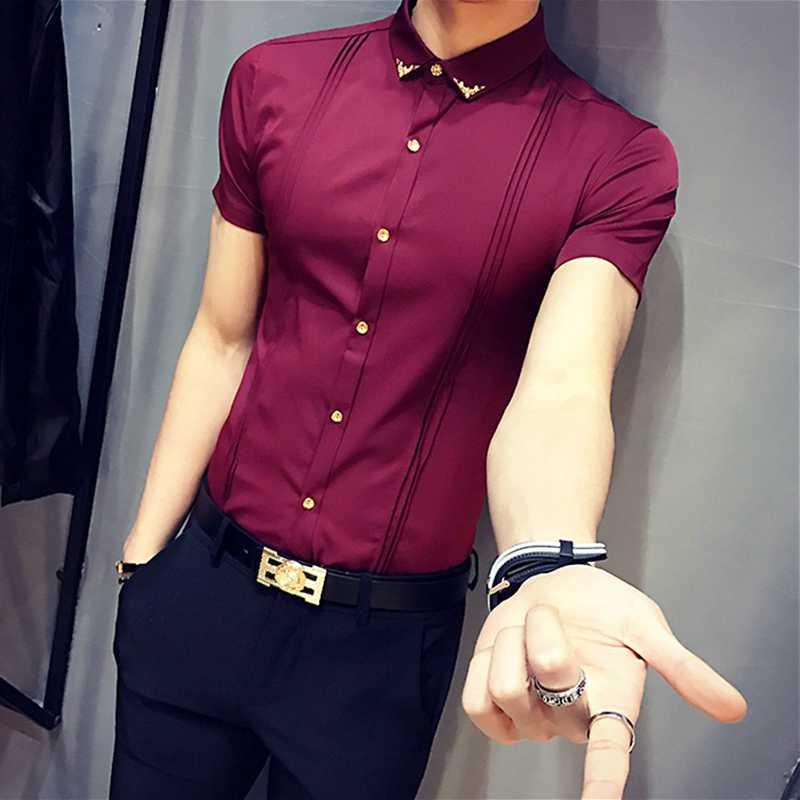 2018 England Abendessen Männer Der Sommer Neue Trend Dünne Persönlichkeit Hemd Koreanische Arbeit Kleid Haar Stylist Nachtclubs Kaufe Eins, Bekomme Eins Gratis