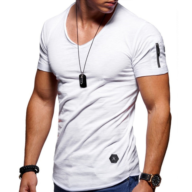 Zipper sleeve slim fit t-shirt men V Neck Raw edge t shirt men camisetas hombre hip hop steetwear tops tee shirt homme t-shirt