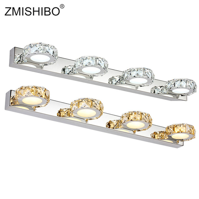ZMISHIBO Round Crystal Mirror Lamp 3W/6W/9W/12W Champagne/White Waterproof LED Wall Light 100-240V Bathroom Lamp Stainless Steel