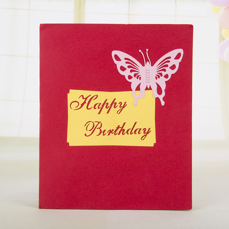 Pop Up Greeting Card 3D DIY Cards Happy Birthday Cake Handmade Creative With Hollow Butterfly HQ1362 On Aliexpress