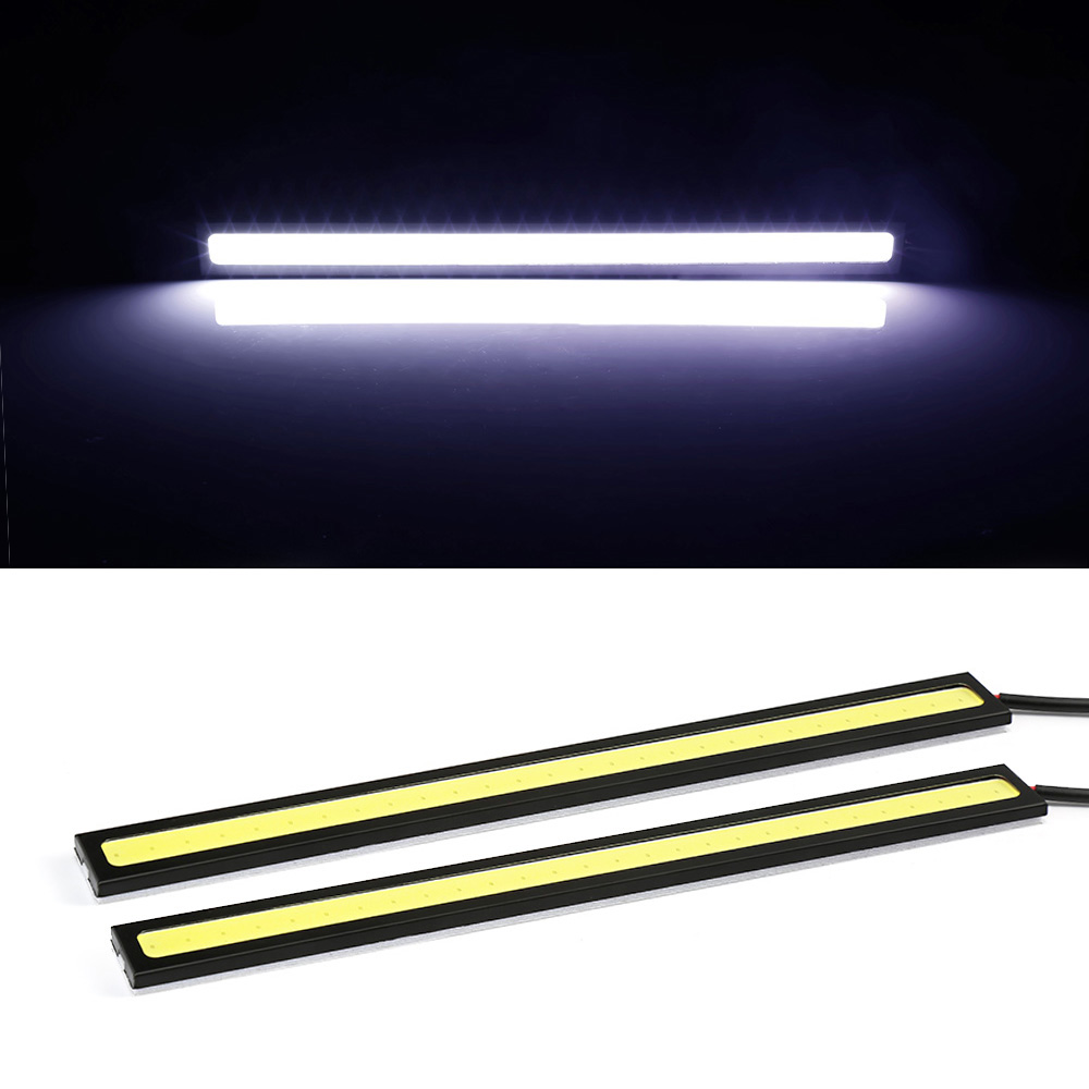 1PIC 17cm COB LED DRL Driving Daytime Running Lights Strip 12V COB LED DRL Bar Aluminum Stripes Panel Car Working Lights