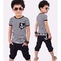 Niño niño ropa de chicos de moda de verano de rayas camiseta y pantalones de los niños que arropan el sistema ocasional Enfant Vetement