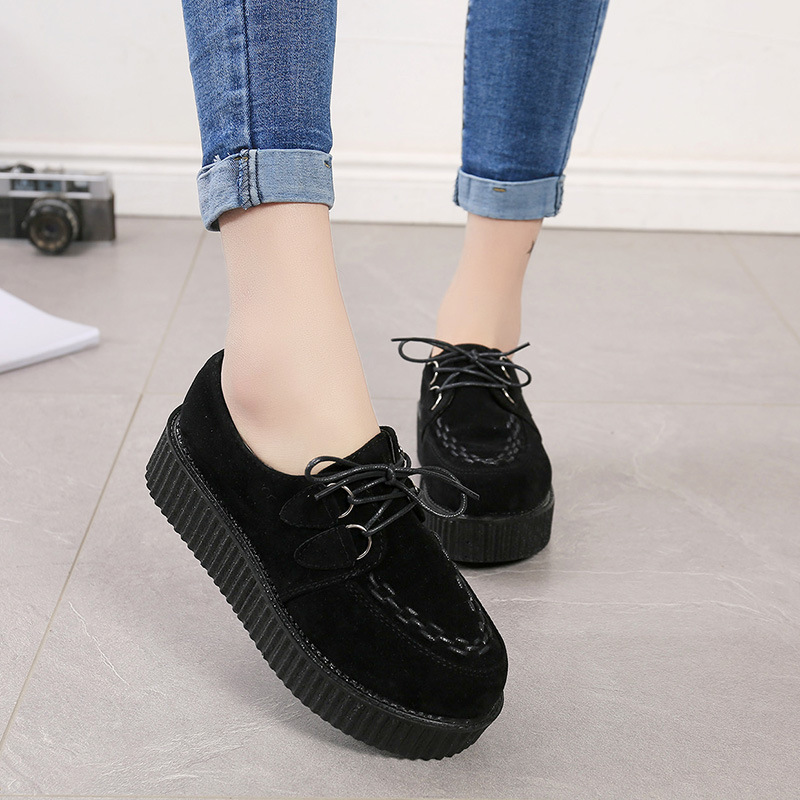 Women Flats Platform Casual Comfortable Suede Shoes Fashio