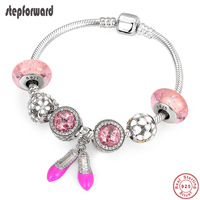 STEP FORWARD Real 925 Sterling Silver Fancy Pink Princess Shoes Enamel Charms Bracelet & Bangle For Woman Fashion Jewelry WLB017