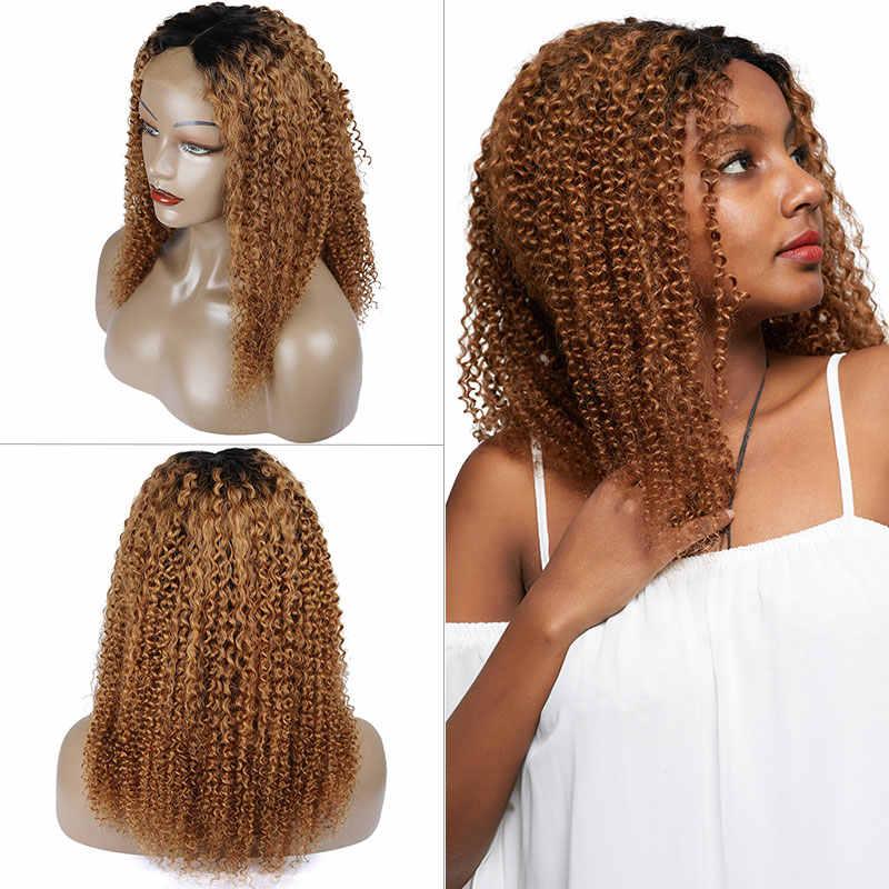Pinshair Rubio degradado Afro rizado pelucas de cabello humano para mujeres T1B/30 Peluca de pelo humano frontal de encaje brasileño Peluca de cierre no Remy