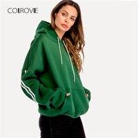 COLROVIE Plus Size Green Casual Drop Shoulder Drawstring Pullover Hoodie Sweatshirt 2018 Autumn Women Streetwear Sweatshirts