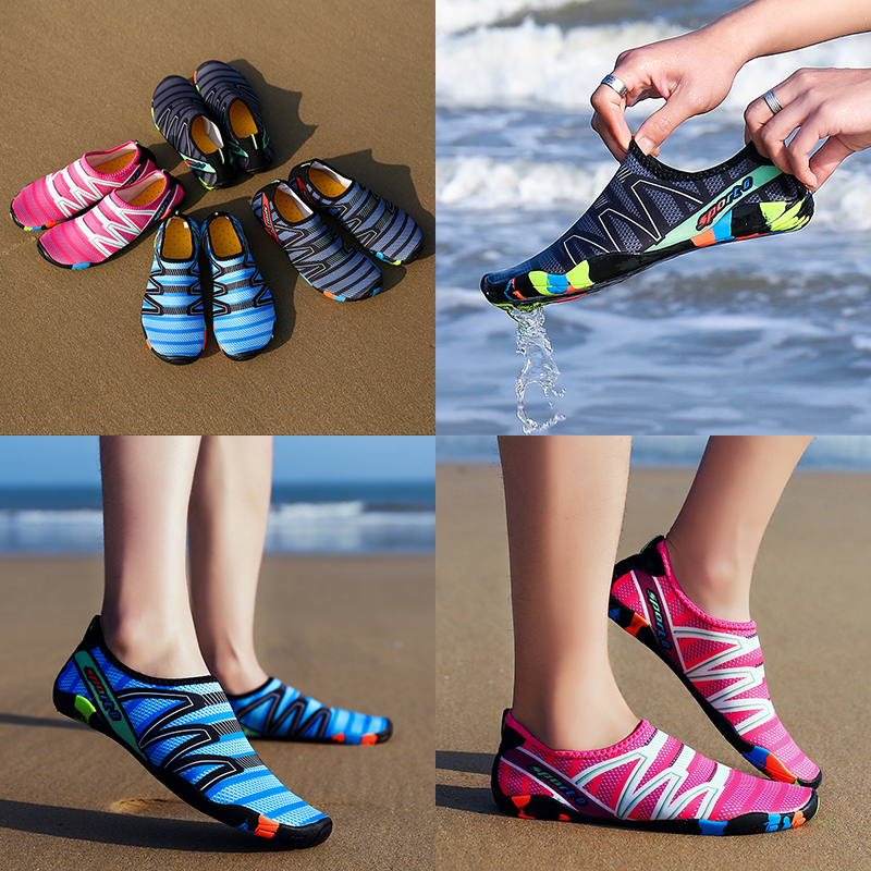 2019 Men Women Aqua Shoes Summer Beach Wading Shoes Swimming Quick-Drying Breath Rubber Reef Non-slip On Surf Unisex Water Shoes