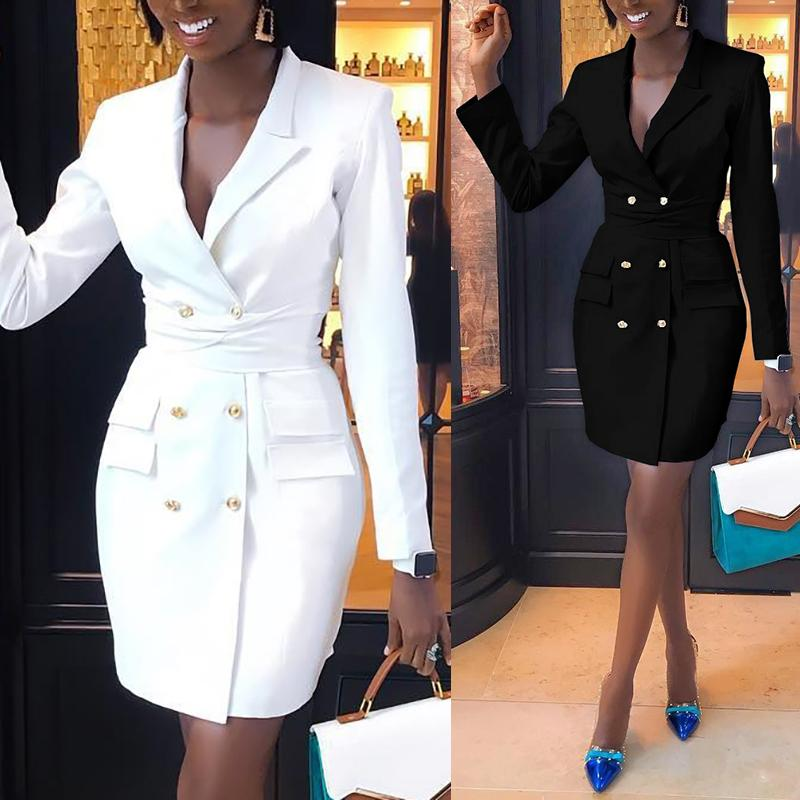 2020 Spring Women Elegant Fashion Trendy Slim Fit Work Wear Vestido Coats Female Vestir V-Neck Double Breasted Dresses Blazer