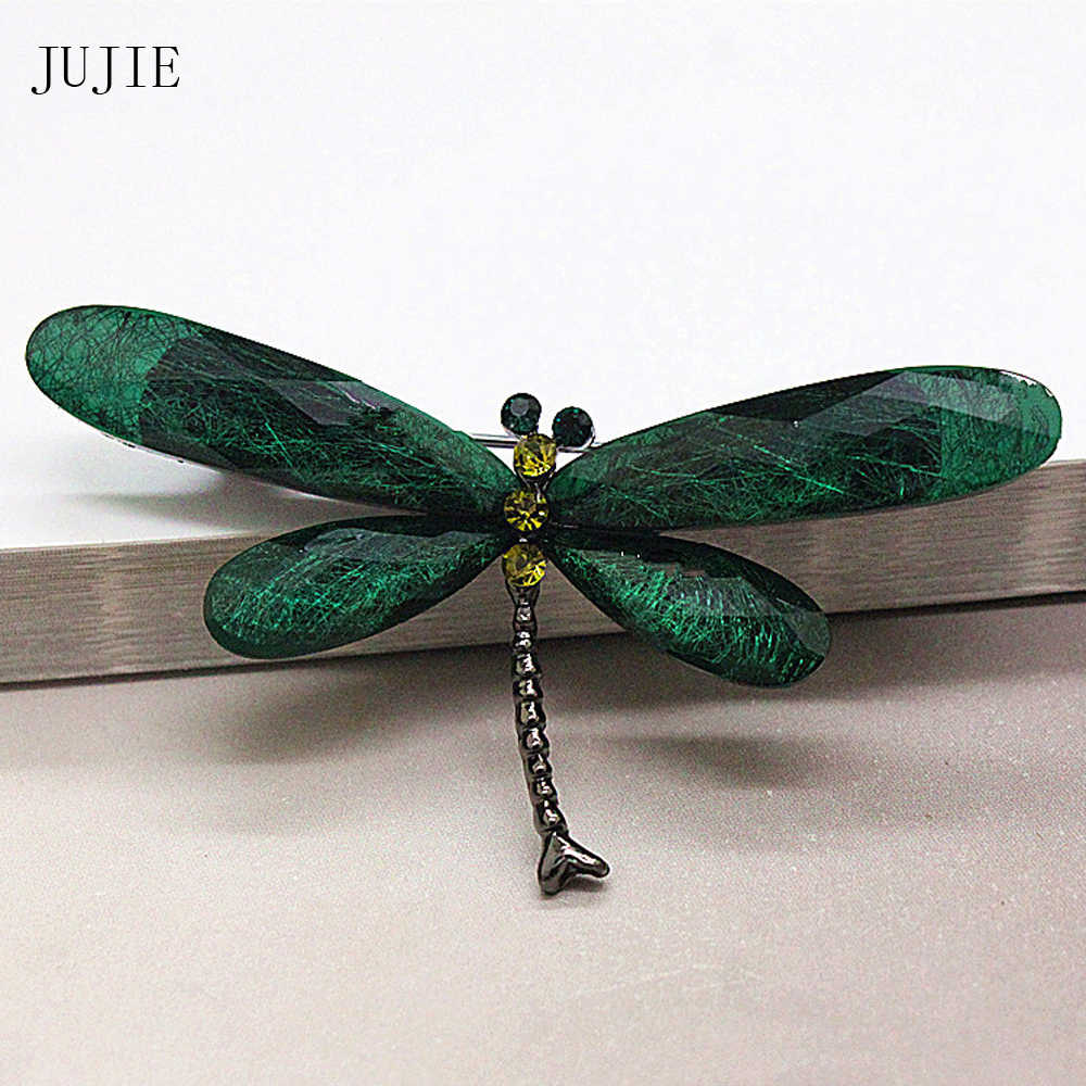 JUJIE Fashion Muticolor Resin Dragonfly Brooches For Women 2019 Vintage Crystal Insect Brooch Pins Animal Jewelry Dropshipping