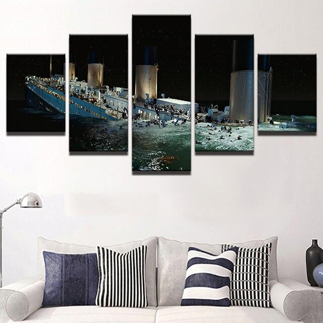 pintura de la lona de arte abstracto de la pared panel decorativo 5 titanic paisaje cuadros - Panel Decorativo Pared