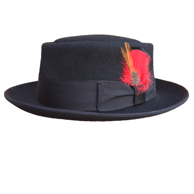 b624ead8f17 Classic Wool Felt Black Pork Pie Hat Porkpie Jazz Fedora Hat Round Top  Trilby Stingy Brim