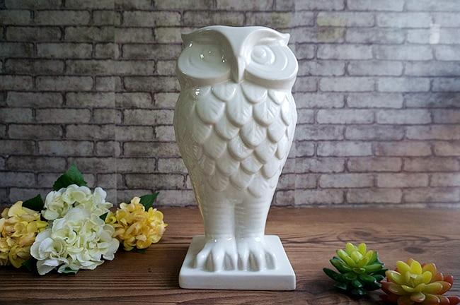 white coruja ceramica owl home decor Owl pot flower vase handicraft crafts room decoration porcelain animal figurine in Vases from Home Garden