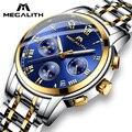 Мужские роскошные водонепроницаемые часы MEGALITH  аналоговые наручные часы из нержавеющей стали  кварцевые часы с хронографом  датой и свечен...
