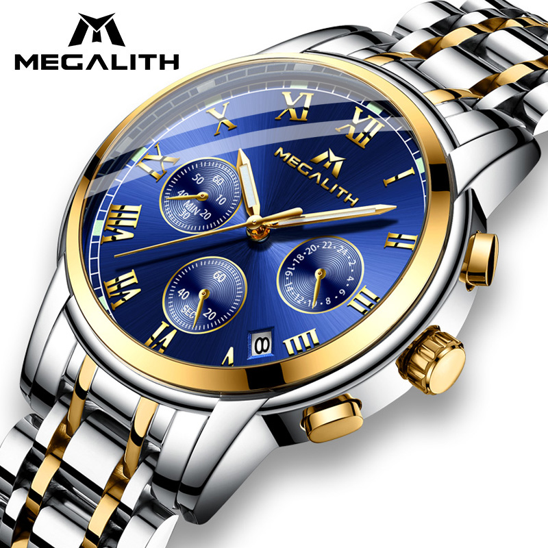 MEGALITH Luxury Luminous Watches Men Waterproof Stainless Steel Analogue Wrist Watch Chronograph Date Quartz Watch Montre Homme