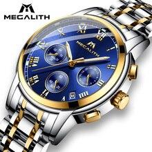 MEGALITH יוקרה זוהר שעונים גברים עמיד למים נירוסטה אנלוגי שעון יד הכרונוגרף תאריך קוורץ שעון Montre Homme