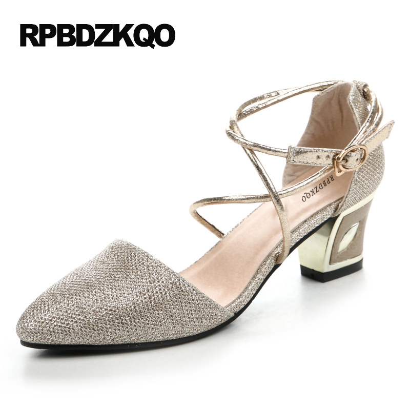 1af6950bde Ankle Strap Pumps High Heels Size 4 34 Cheap Thick Sandals 33 Gold Women  Party Shoes Metal Cross China Pointed Toe Medium Silver
