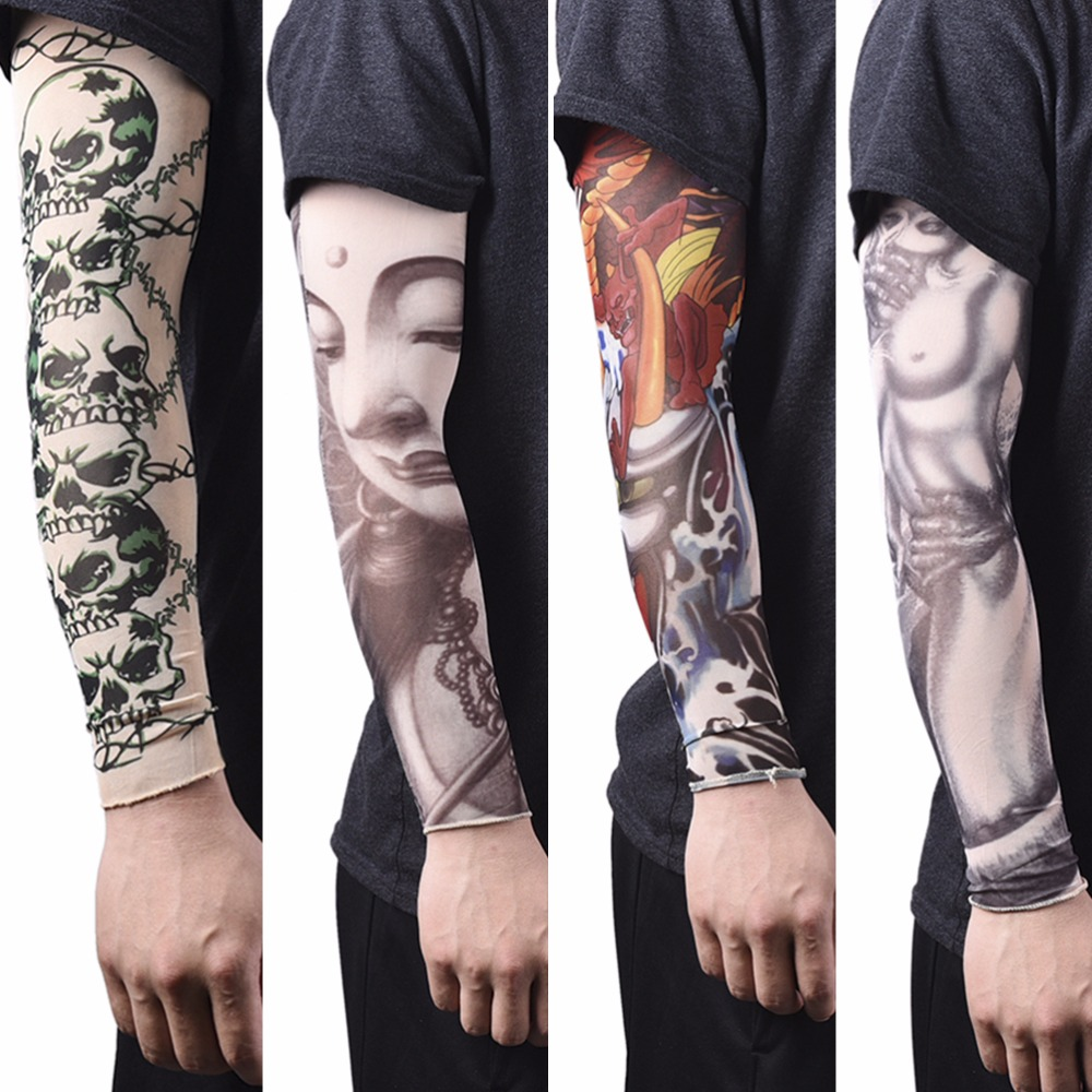 1Pc Fashion Nylon Tatoo Arm Stockings For Men Women Arm Warmer Cover Elastic Fake Temporary Tattoo Sleeves