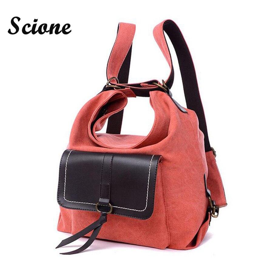 Large Capacity Women Backpack Multifunction Canvas Travel Backpacks Portable Travel Bag Laptop Rucksack Dual Use Shoulder