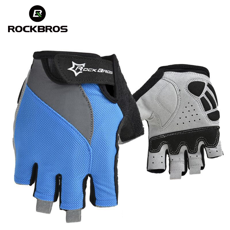 RockBros Cycling Non-Slip Breathable Bike Bicycle Gloves Men Women Summer Bicycle Short Gloves Cycle Gel Pad Half Finger Gloves summer half finger cycling gloves breathable shockproof non slip gloves for bicycle guantes ciclismo men women bike glove