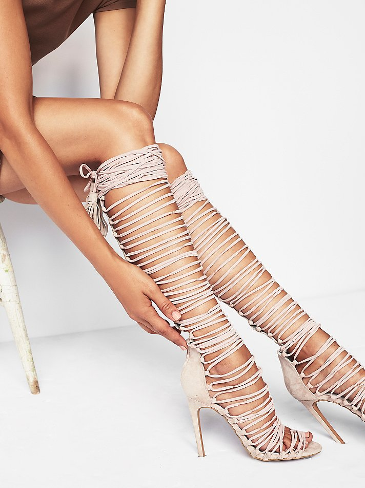 Rihanna Gladiator Over Knee High Heel Boots Sexy Women Lace Up Peep Toe Stiletto Sandals Party Fetish Shoes Motorcycle Boots купить