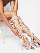 Rihanna Gladiator Over Knee High Heel Boots Sexy Women Lace Up Peep Toe Stiletto Sandals Party Fetish Shoes Motorcycle Boots