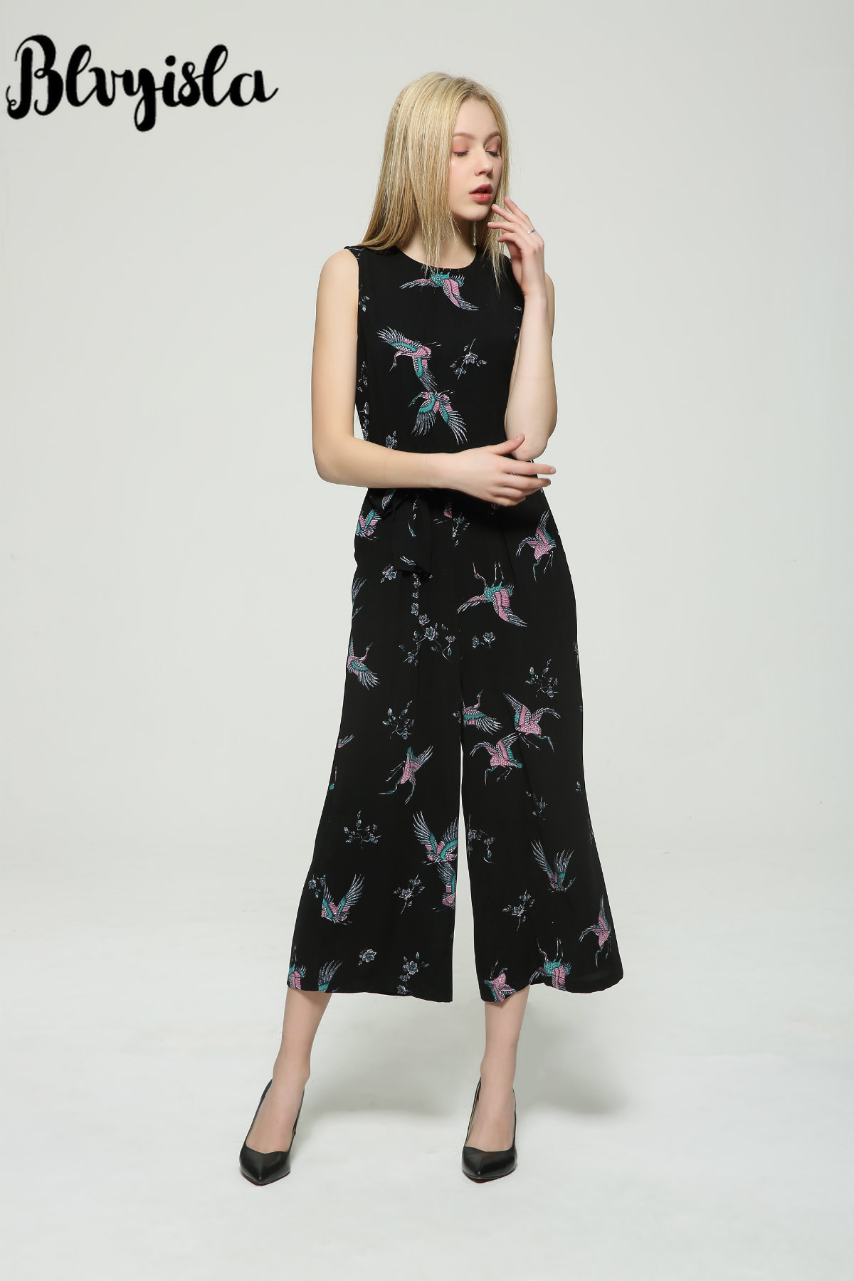 Sexy Bodysuit Chiffon Women Sleeveless Summer Black Printed Blvyisla Office Jumpsuit Lady Playsuits Overalls Long fCwnWFq