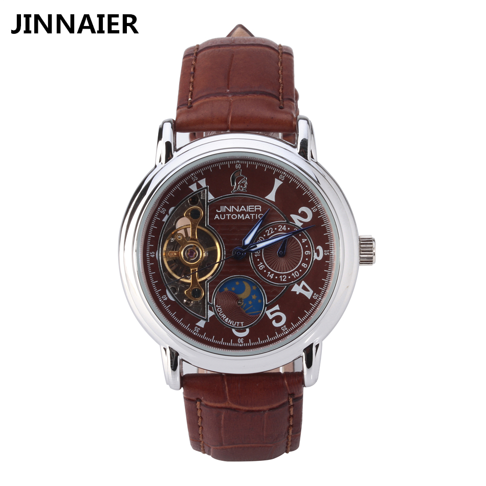 Automatic self wind movement mechanical watch men waterproof skeleton black leather clock mens for Auto movement watches