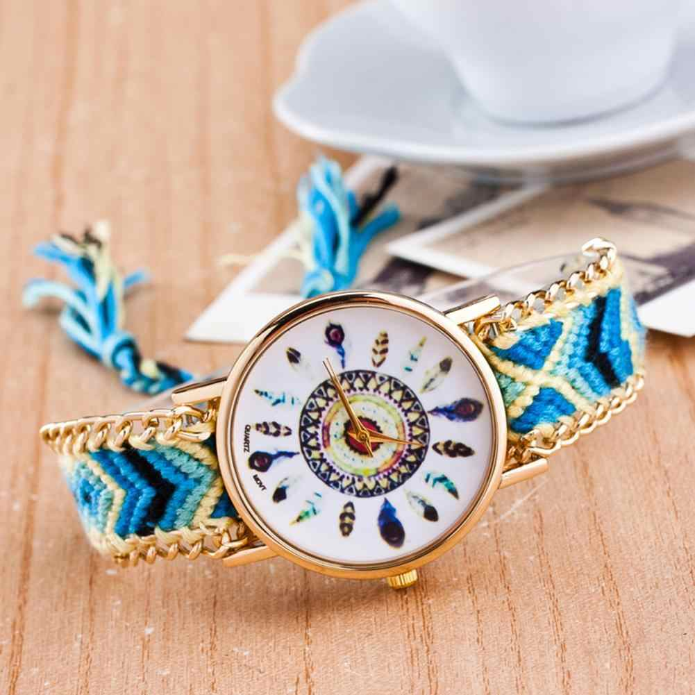 Women Watch Women Knitted Braided Weaved Rope Band Bracelet Quartz Dial Wrist Watch Christmas Gift