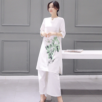 New Autumn Woman S Cotton And Linen Two Piece Dress National Wind Lotus Pattern Long Sleeve