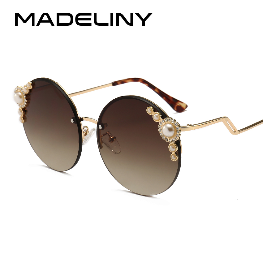 MADELINY Fashion Women Round Sunglasses 2018 New Rimless Sun Glasses Vintage Pearl For Female Brand Design Shades MA191