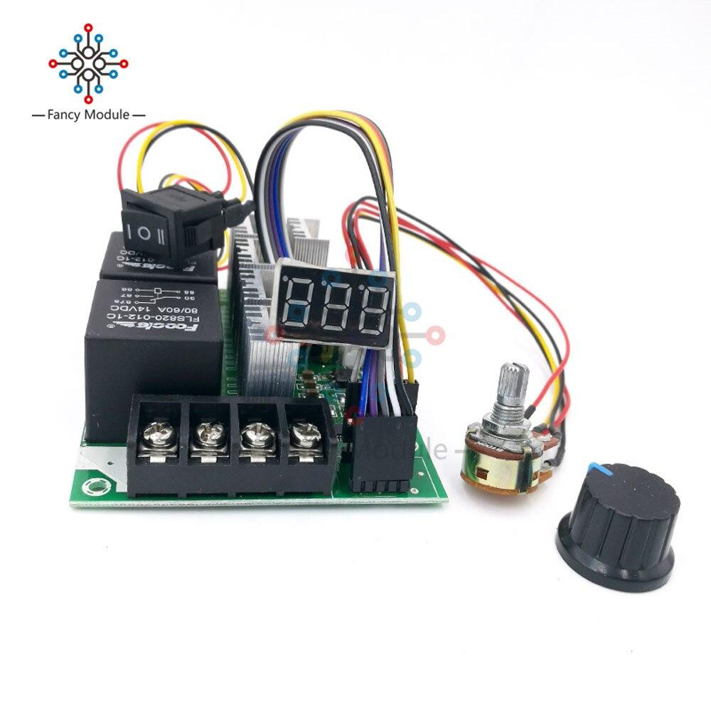 10-55v 12v 24v 36v 60a pwm dc controlador de velocidade do motor para a frente reverso ajustável interruptor de botão controle driver display digital