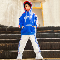 new Kids HipHop printing Clothing Boys Sweatshirt Jogger Pants Jazz Dance Costumes Set sport wear 100 170cm height