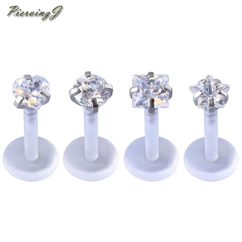 16GA Steel Ball Acrylic Bio-Flex Barbell Monroe Lip Labret Ring Stud Piercing US