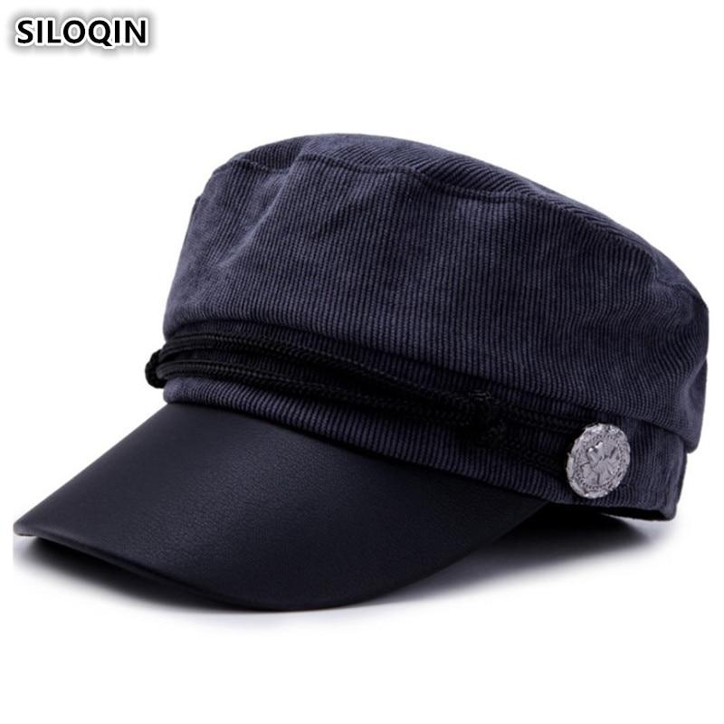 SILOQIN Corduroy Retro Army Military Hats Elegant Womens Hat Fashion Vintage Flat Cap New Style Ladies Snapback Caps For Women