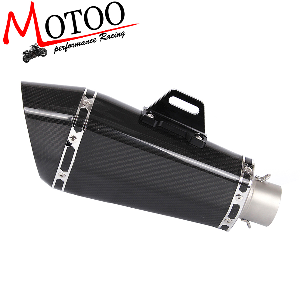 Motoo -Real Carbon Fiber Motorcycle Exhaust Silence link Pipe Motocross Muffler with DB KILLER free shipping carbon fiber id 61mm motorcycle exhaust pipe with laser marking exhaust for large displacement motorcycle muffler
