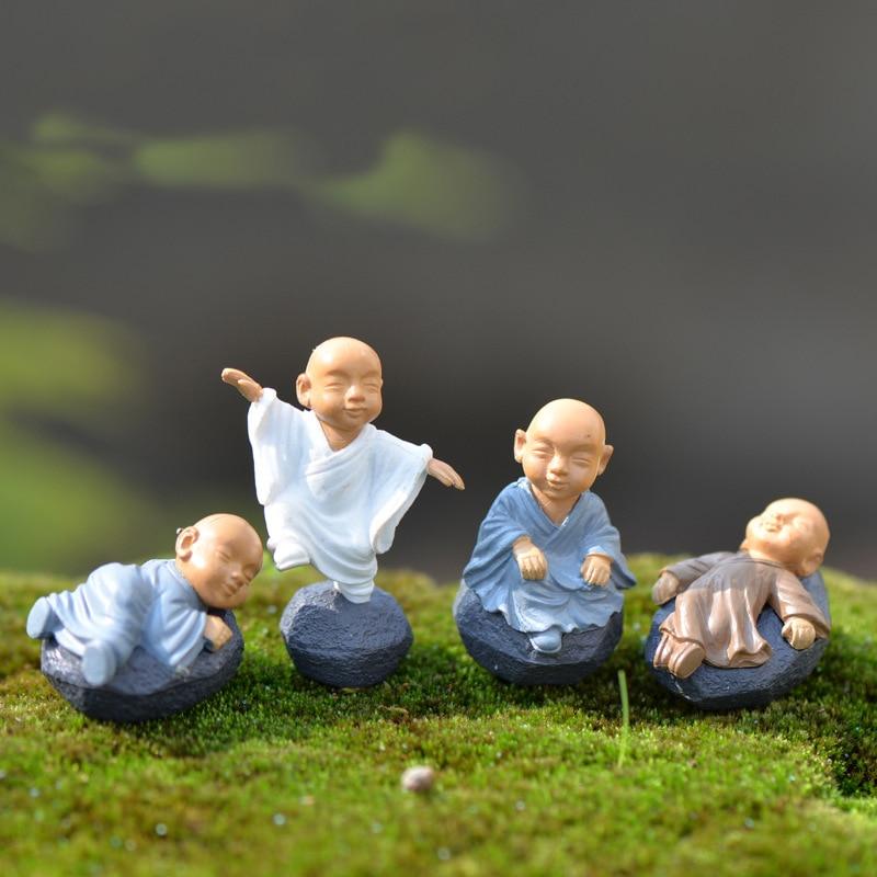 4pcs Figurine Fairy Home Decoration Accessories Kawaii Chinese Buddhist Monks Miniature Bonsai Garden Furniture Resin Craft