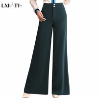 LXMSTH Autumn Winter Women S Wide Leg Pants Loose Fashion High Waist Plus Size Lady Pants