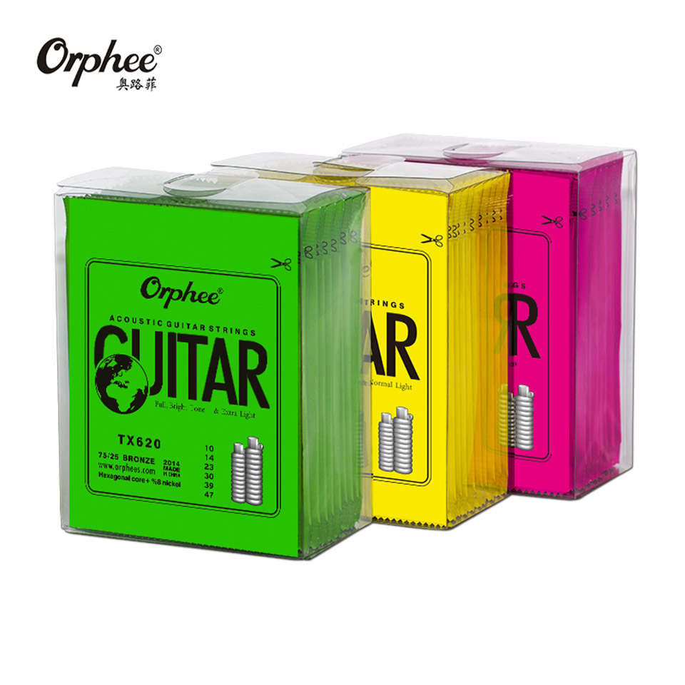 Orphee Hot Sell 1 SET ACOUSTIC Guitar String Hexagonal core+8% nickel FULL,Bronze Bright tone& Extra light Extra Light Medium-in Guitar Parts & Accessories from Sports & Entertainment