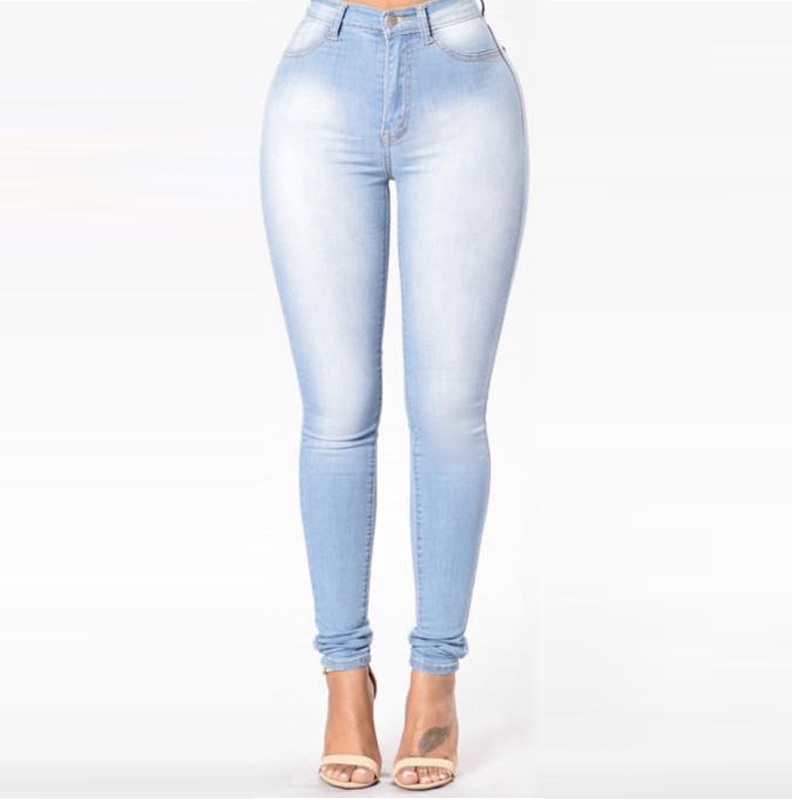 Basic Skinny Women Jeans High Waist Pencil Pants Slim Elastic Denim Trousers Stretch Female Jean Leggings Cotton Jeggings Jeans free shipping women s skinny pants jeans female jeans belt clothing pencil pants elastic women s trend