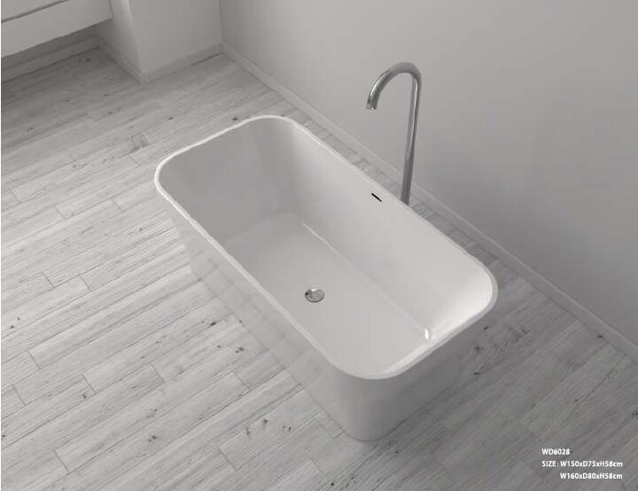 1600X800X580mm CUPC Approval Acrylic with Fiberglass Resin bathtub Freestanding Seamless Soaking Tub 6028