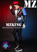 S-5XL Men Singers bigbang GD dancer dj stage motorcycle leather jacket coat MEN red white blue splice locomotive jacket costumes