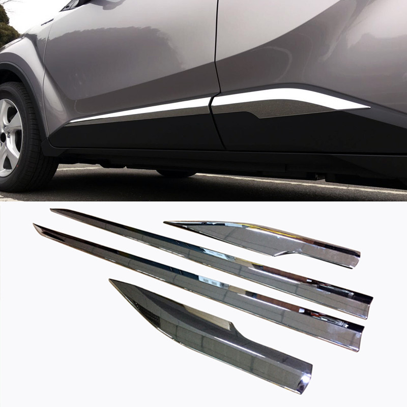 Auto Replacement Parts Shop For Cheap Car Styling For Toyota C-hr Chr 2017 Abs Carbon Fiber Door Body Side Trim Cover Molding Accessories 4pcs