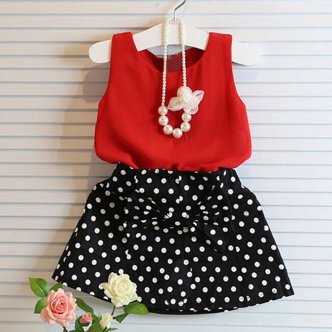Girls chiffon red Vest Pleated Dress Two Pieces Set Clothes Children dot bow A-line skirt Suit children suit fashion clothes 40 women fashion dress casual solid color chiffon high waist double chiffon short skirt puff pleated big swing half skirt l05