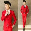 Trajes masculinos de boda delgado rojo formal vestido de traje de moda casual para el novio azul de Los Hombres delgados trajes chaqueta + pantalones + chaleco profesional