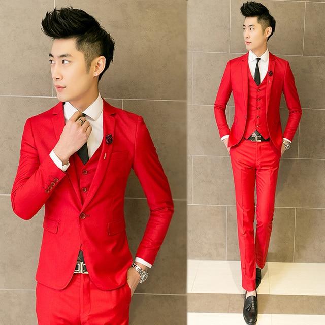 Trajes masculinos de boda delgado rojo formal vestido de traje de moda  casual para el novio 33b0076ca9c