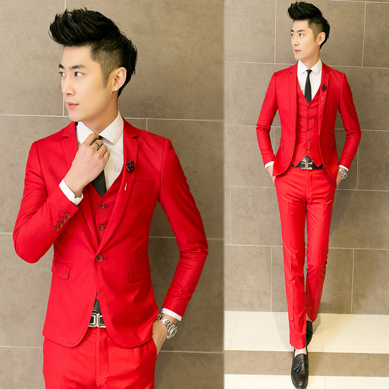 wedding suits male slim red formal dress fashion casual suit the groom blue thin Men suits jacket + pants + vest professional